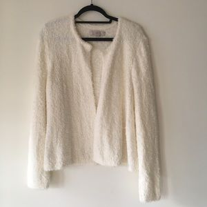 LOFT Fuzzy White Open Cardigan